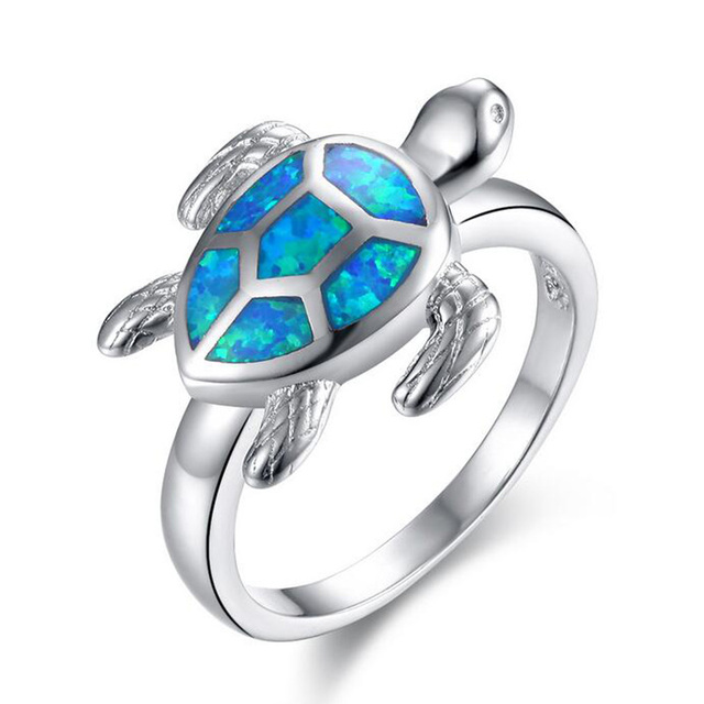 Tortoise Female Blue And White Fire Opal Wedding Ring Fashion Animal Vintage Jewelry Rings Women