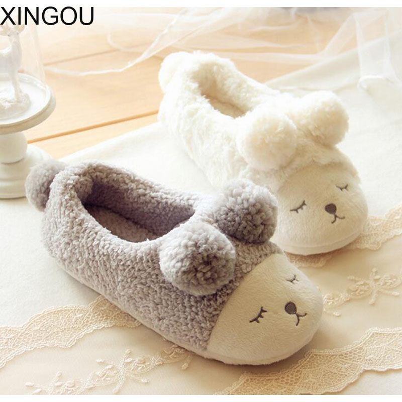 New cartoon home slippers winter warm slippers home for women cute plush cover shoes cotton floor soft home slippers for women senza fretta winter slippers home warm cotton slippers with bag heel animal pattern plush warm home slippers cute women shoes