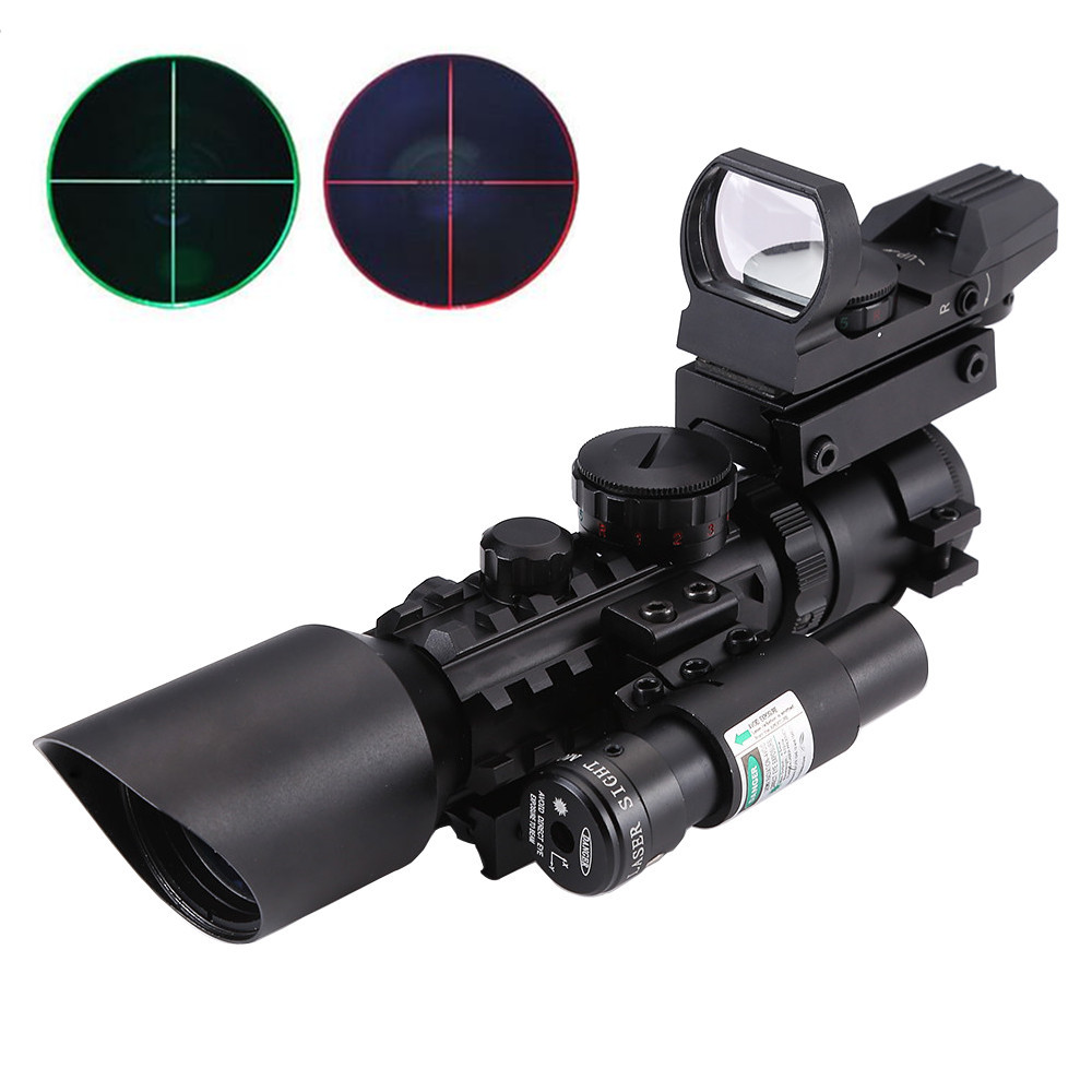 3-10x40 Hunting Riflescope Red/Green Dot Laser Sight Scope Chasse Tactical Optics Airsoft Air Guns Rifle Scope Holographic Sight 4x30 hunting riflescope red green mil dot sight scope 11 20mm mount rail tactical rifle airsoft air guns rifle sight scopes