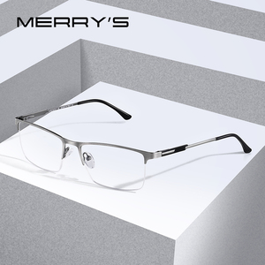 Image 1 - MERRYS DESIGN Men Titanium Alloy Glasses Frame Male Square Eye Myopia Prescription Eyeglasses Male Half Optical S2064