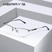 MERRYS DESIGN mężczyźni tytanowe okulary z lekkiego stopu ramki męskie kwadratowe oczka krótkowzroczność okulary korekcyjne męskie pół optyczne S2064