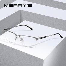 MERRYS 디자인 남자 티타늄 합금 안경 프레임 남성 광장 눈 근시 처방 안경 남성 절반 광학 S2064