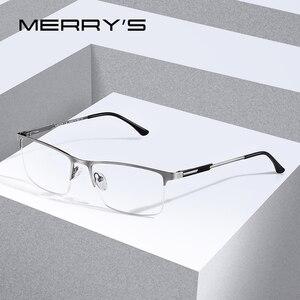 Image 1 - Merrys Ontwerp Mannen Titanium Legering Glazen Frame Mannelijke Vierkante Eye Bijziendheid Recept Brillen Mannelijke Helft Optische S2064