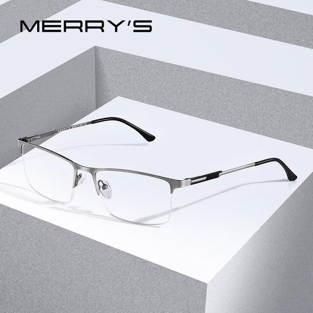 Merrys Ontwerp Mannen Titanium Legering Glazen Frame Mannelijke Vierkante Eye Bijziendheid Recept Brillen Mannelijke Helft Optische S2064