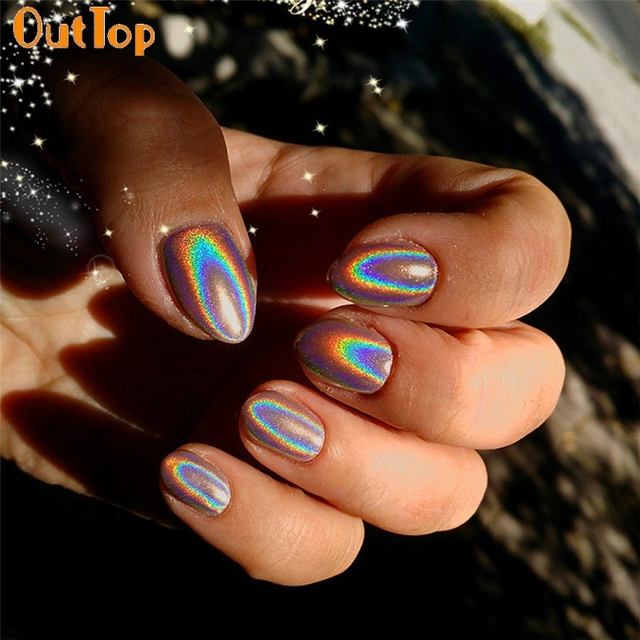 OutTop Love Beauty Female 1g/Box Nail Art Rainbow Holographic Nail ...