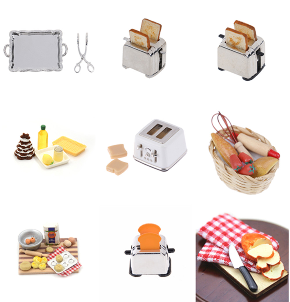 New Microwave Food Bread Cooking Board Knife Chopping Block Pretend Play Kitchen Toy Miniature For Doll House 1: 12 1:6 Scale