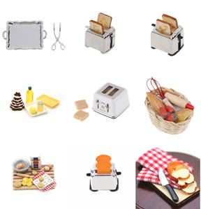 New Microwave Food Bread Cooking Board Knife Chopping Block Pretend Play Kitchen Toy Miniature For Doll House 1: 12 1:6 Scale(China)