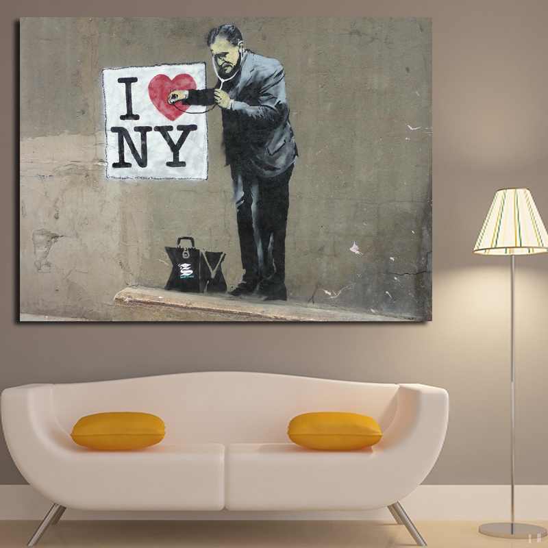 Banksy Canvas Painting Graffiti Street Art Poster Wall Giclee Prints Pictures For Living Room Home