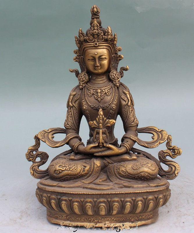 Old Tibet Buddhism Temple Copper Amitayus longevity God Goddess Buddha StatueOld Tibet Buddhism Temple Copper Amitayus longevity God Goddess Buddha Statue