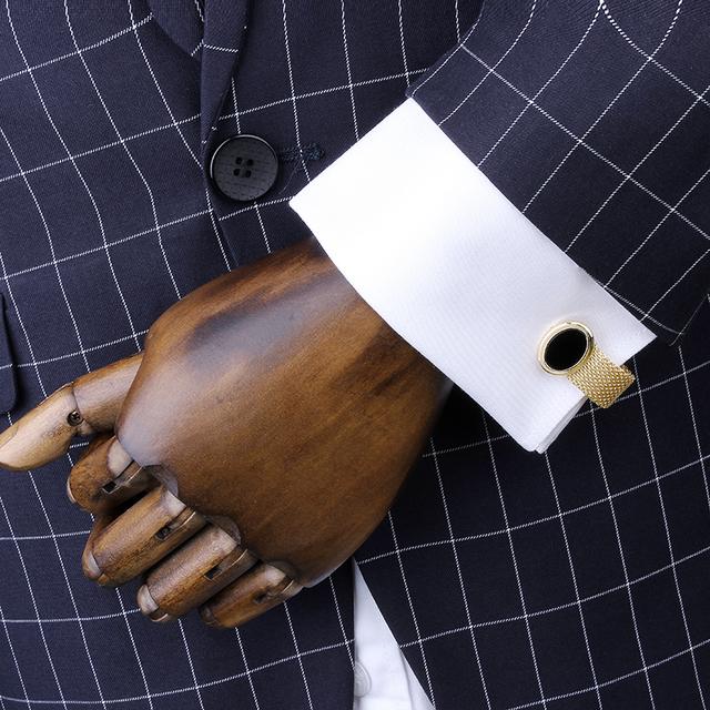 2016 Verão Nova Chegada dos homens Rosa de Ouro Mãe De Pérola Cadeia Cuff Links Charme Camisas de Negócios Acessórios