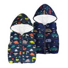 В году, Новые осенне-зимние детские жилеты для мальчиков мультфильм мальчик автомобили/куртка динозавр с капюшоном Куртки Жилеты теплое пальто для мальчика