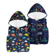 Новинка 2018 года, осенне-зимние детские жилеты для мальчиков, жилетка с мультяшными машинками/куртка динозавр, куртки с капюшоном, жилеты, теплое пальто для маленьких мальчиков