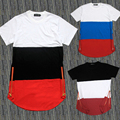 Mens Solid Cotton T Shirts White Black Red Patchwork Golden Side Zipper Swag T Shirt Streetwear Hip Hop T-Shirts Extended tshirt