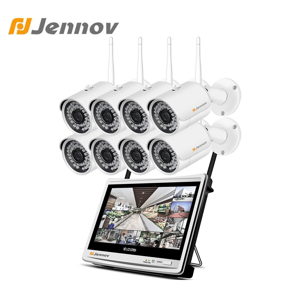 "Jennov 2MP 1080P Home Security Camera System Wireless CCTV Wifi Video Surveillance NVR 1080P P2P HD 12"" LCD Monitor IP66 Outdoor"