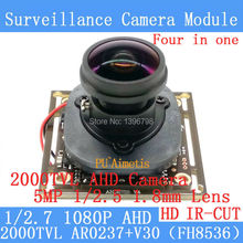2MP 1080P AHD 4in1 Coaxial 360Degree Fisheye Panoramic HD CCTV Surveillance Camera Module 2000TVL 1.8mm Lens ODS/BNC Cable