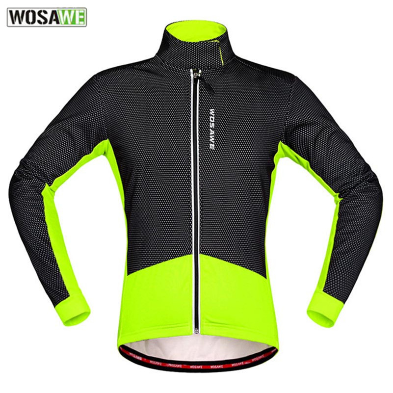 WOSAWE Men Women Autumn Winter Warm Fleece Jacket MTB Quick Dry Cycling Jacket Ropa Ciclismo Long-sleeved Jackets BC286-R