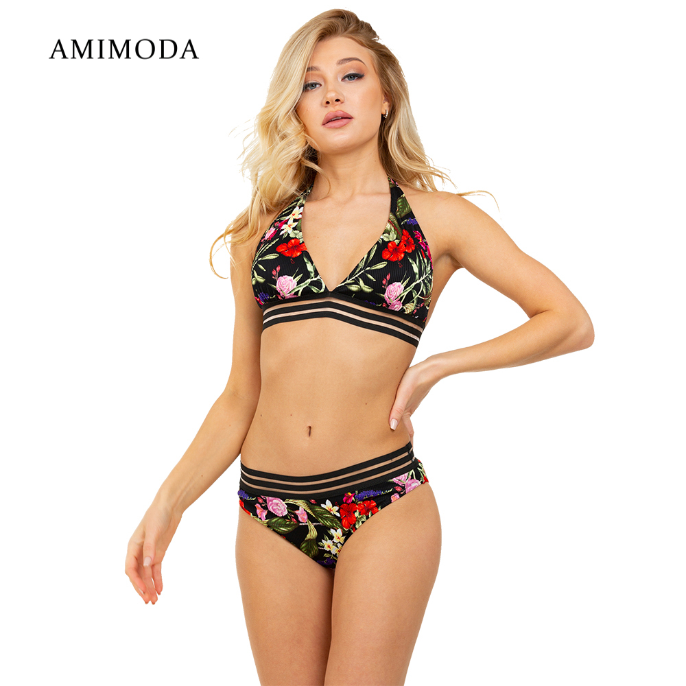 Two-Piece Suits Amimoda FD19116-01 separate swimsuit for women hollow out two piece dress