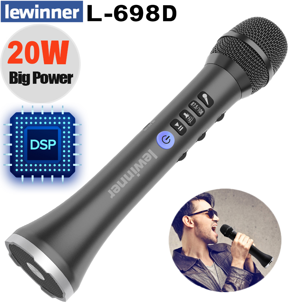 Lewinner L-698DSP professional 20W Bluetooth karaoke microphone speaker portable wireless mini home KTV for Sing and music play