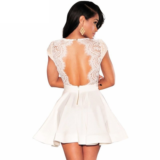Classic Black/White Lace Key-Hole Back Deep V-Neck Party/Club/Cocktail Dress