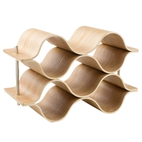 Wooden Wave Wine Rack Freestanding For Table, Bar Or Counter Modern Minimalist Design Sweet And Dry Wines For Small Home Wet B