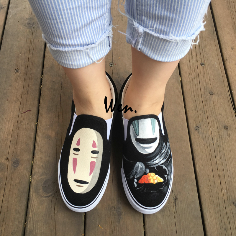 Wen Men Women's Hand Painted Shoes Slip On Flats Design Anime Spirited Away No Face Man Canvas Sneakers Birthday Gifts wen design hand painted shoes custom anime samurai champloo slip on canvas sneakers for men women s special gifts page 4
