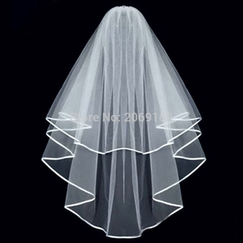 2020 In Stock Two Layers White / Ivory Bridal Veil With Comb Ribbon Edge Wedding Dress Accessaries
