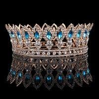 Baroque Blue Crystal Crowns Full Round Princess Queen Gold Crown Tiara Wedding Hair Jewelry Bridal Hair Accessories Headpiece
