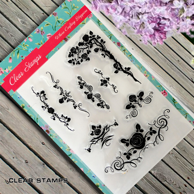 Rose flowers lace branches Scrapbook DIY photo Album paper cards clear stamp transparent stamp for christmas gift TM-108 lovely animals and ballon design transparent clear silicone stamp for diy scrapbooking photo album clear stamp cl 278