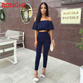 RongHe Summer Women's Sets Off Shoulder Ensemble Femme two piece Crop Top And Pants Sexy pantsuit two Piece Outfits Fashion Sets