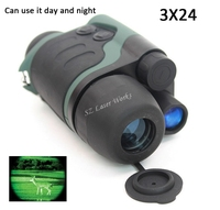 Free Shipping brand digital goggles 3 * 24 infrared night vision goggles full color day and night type of dual use night vision