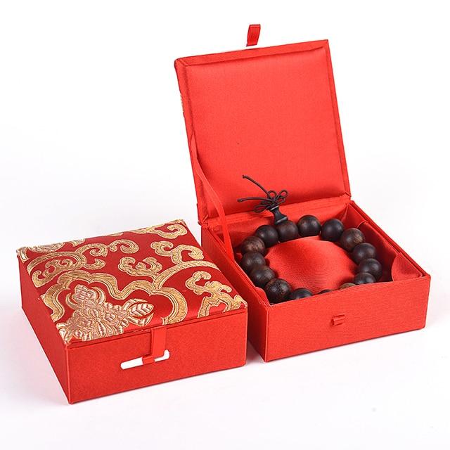Flower Chinese Silk Brocade Box Soft Square Cardboard Box Merry