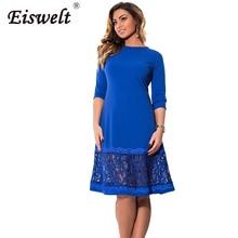 EISWELT L-6XL elegant blue women dress big sizes Autumn o-neck loose