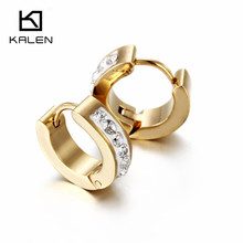 2017 Kalen Promotion Jewelry Cheap Stainless Steel Zircon Rhinestone Dubai Gold Color Hoop Earrings For Kids