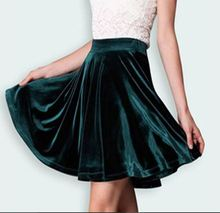 Starlist 2017 Spring Woman Velvet High Waist Skirt A-Line Skirt Mini Half Skirt Vintage Bottom Skirt