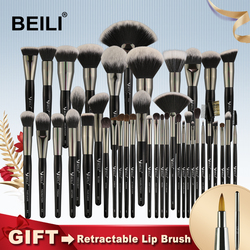 BEILI Black Professional 40 Pieces Makeup Brushes Set Soft Natural bristles powder Blending Eyebrow Fan Foundation make up brush