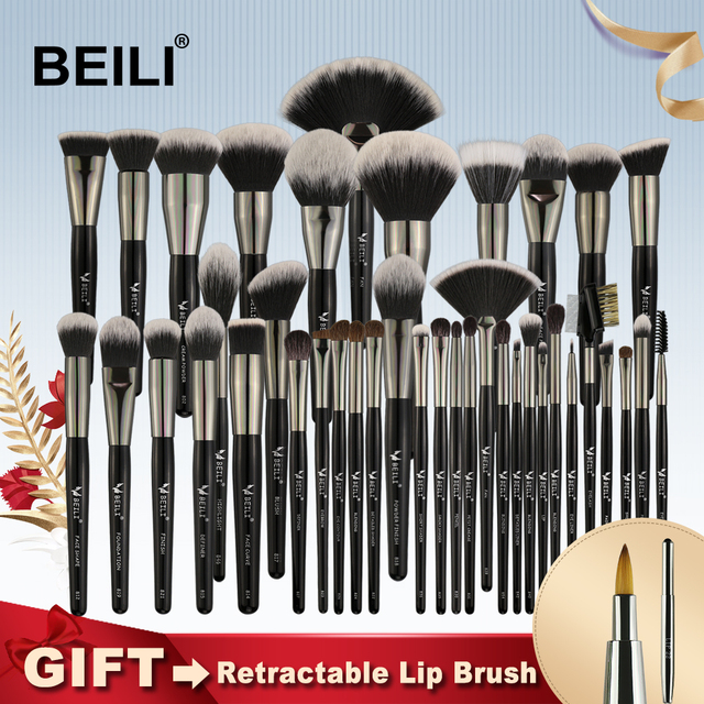 BEILI negro profesional 40 piezas pinceles de maquillaje conjunto de cerdas naturales suaves polvo mezcla ceja ventilador corrector base
