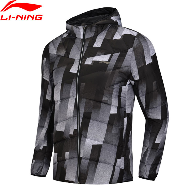 Li Ning Men Training Series Down Coat Hooded Polyester 90 White Duck Down 3D Fitting LiNing