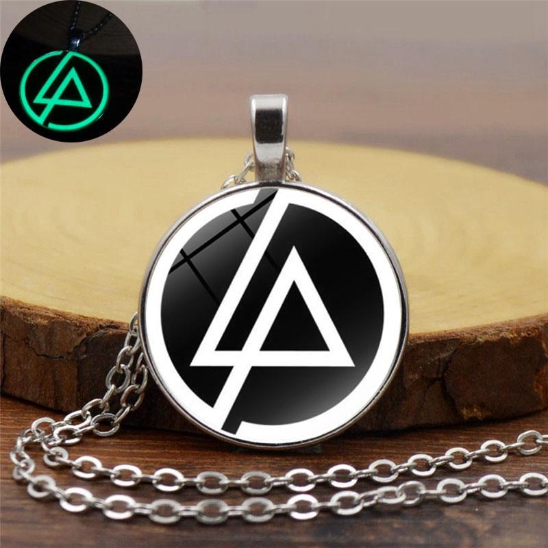 2017 Handmade DIY Luminous Necklace Linkin Park Logo Glass Cabochon Pendant Silver Chain Necklace Women Glow In The Dark Jewelry