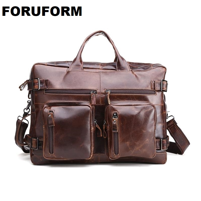 Crazy Horse Genuine Leather Men Bag Vintage Loptap Business men's Genuine Leather Briefcase Mens Bags Men Messenger Bag LI-1131 crazy horse genuine leather men bags vintage loptop business men s leather briefcase man bags men s messenger bag 2016 new 7205