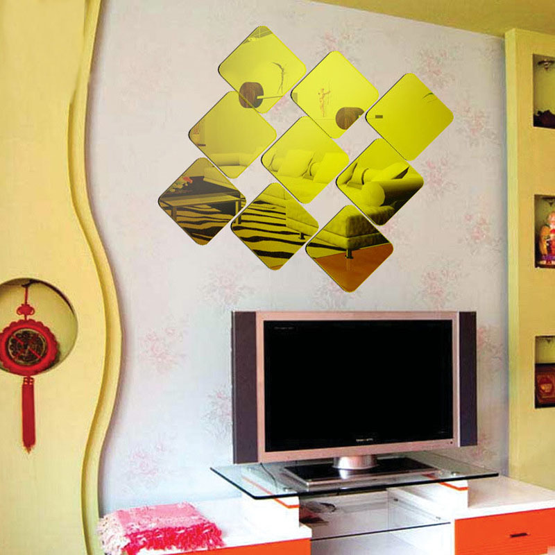6*15*15cm Gold Square Mirror Wall Stickers 3D Plastic Modern Home ...