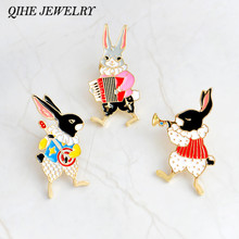 QIHE JEWELRY Pins and brooches Musician banjo/accordion/trumpet rabbit pin Bunny pins Rabbit jewelry Cute kawaii gifts(China)