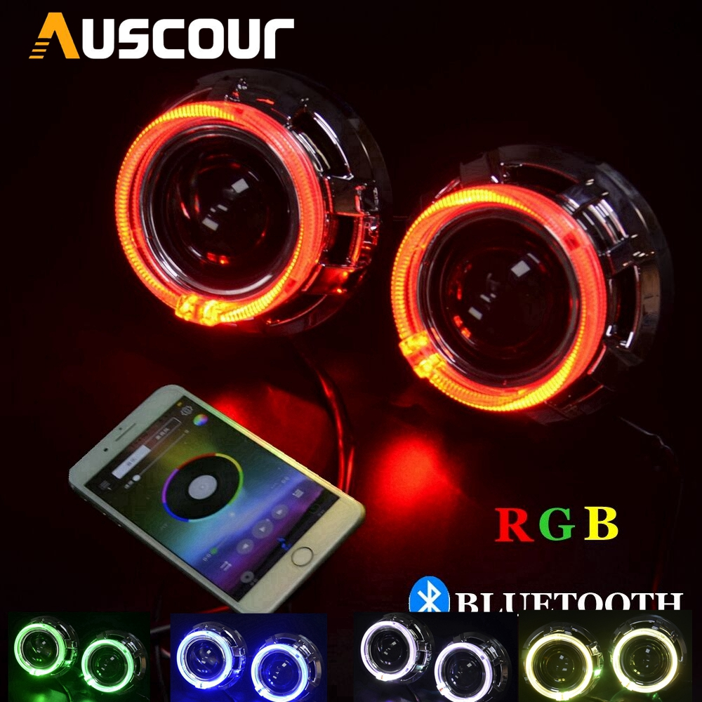 Universal 3 0inch Bixenon hid Projector lens q5 Koito with RGB app Bluetooth function angel eyes