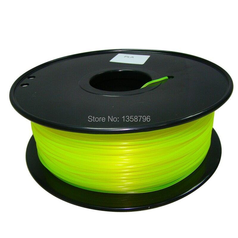 yellow color 3d printer filament PLA/ABS 1.75mm/3mm 1kg MakerBot/RepRap/UP/Mendel plastic High quality abs filament 1 75 in yellow color 1kg