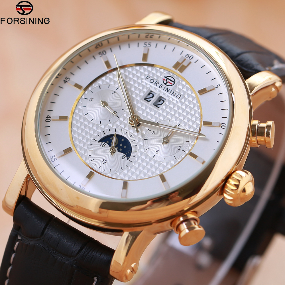 Forsining Business Time Series Black Genuine Leather Strap 3 Dial 6 Hands Men Watches Top Brand Luxury Automatic Watch Clock Men forsining noble series swirl dial suede strap 6 hands calendar display mens watches top brand luxury mechanical watch clock men