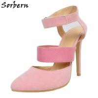 Sorbern Rosa Mulheres Sapatos Sandálias De Salto Alto Pontas Do Dedo Do Pé Partido Stiletto Mary Jane Mulher Designer de Bombas de Calcanhar Cores Personalizadas