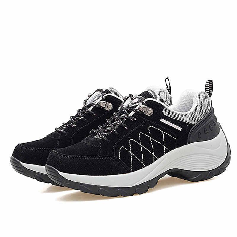 Zapatillas mujer primavera otoño casual zapatos de plataforma de encaje Mujer cuña cómodos zapatos de mujer zapatos deportivos de señora alto aumento