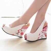 MIUBU New Wedge Sandals Shoes Women High Heels Shoes Open Toe Platform Buckle Women Summer Shoes 4colors Big Size 33 41