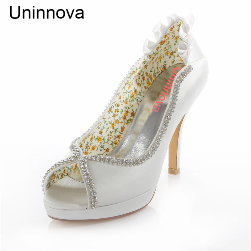 Peep Toe Crystal Elegant Platform Super High Heel Wedding