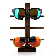 Lan Lin 3 layers Wood-Wenge Sunglass Dispaly Holder brown Show rack Sunglasses display stand incorporating props for shopes