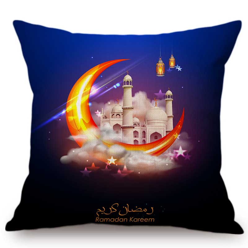 Islam Art Ramadan Eid Mubarak Decorative Sofa Throw Pillow Case Muslim Mosque Holy Koran Lantern Art Cotton Linen Cushion Cover